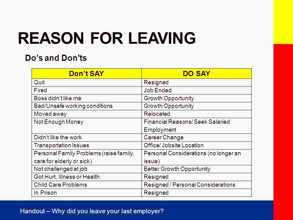 reason for leaving employer yglesiazssa