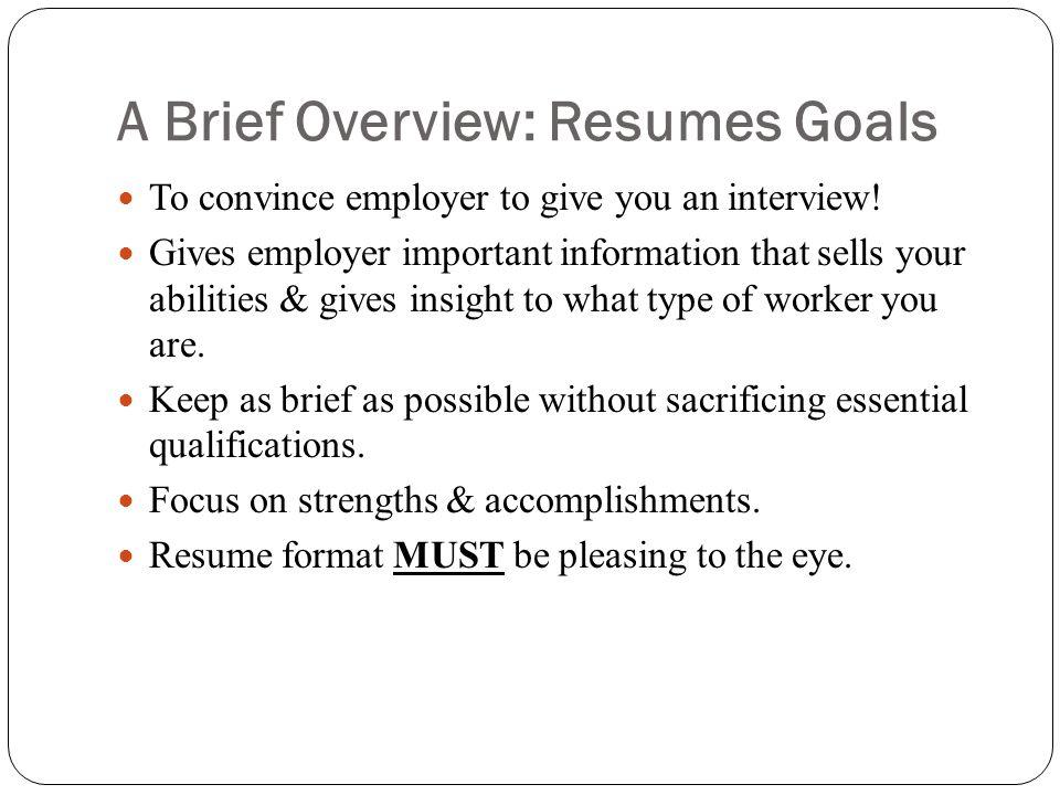 brief resumes - Minimfagency - brief resume format