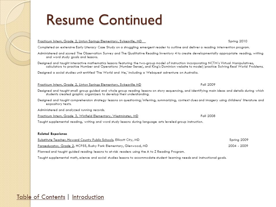 resume model for arts students