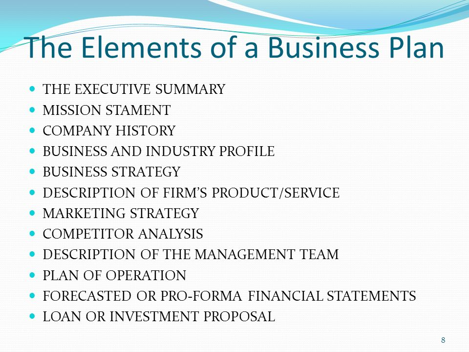 business plan elements tutornowinfo - business plan elements