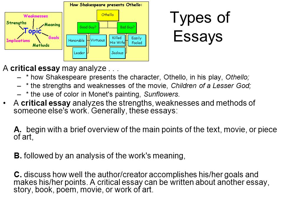 Types Of Essay Types Of Essay Examples Different Essay Types And