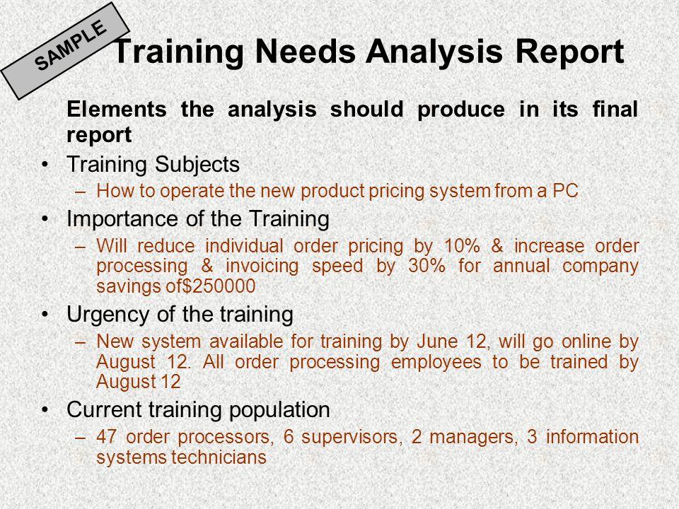 Sample Training Needs Assessment Sample Training Needs Assessment