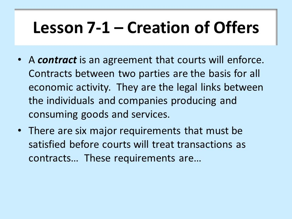 Chapter 7 \u2013 Offer and Acceptance - ppt video online download - contract between two companies for services