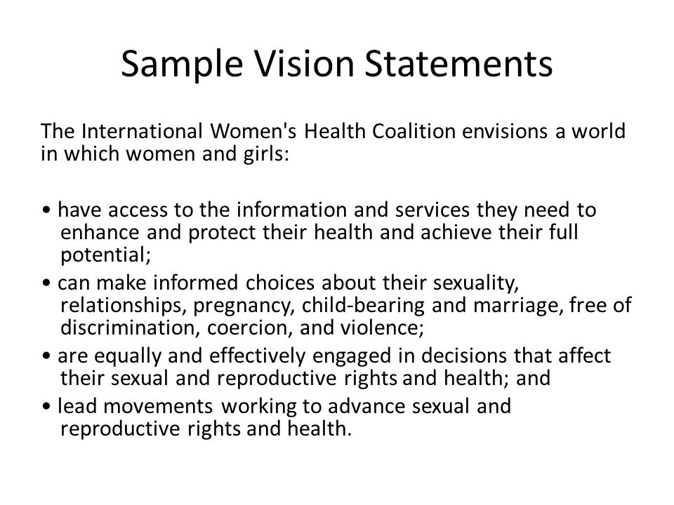 Sample Vision Statement sample vision statement business vision