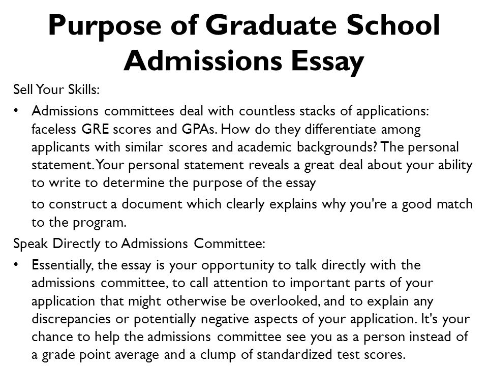 How To Write An Graduate Admissions Essay