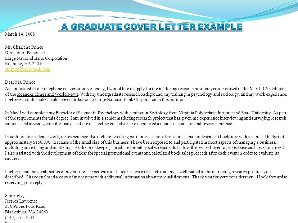 Speculative Cover Letter Sample