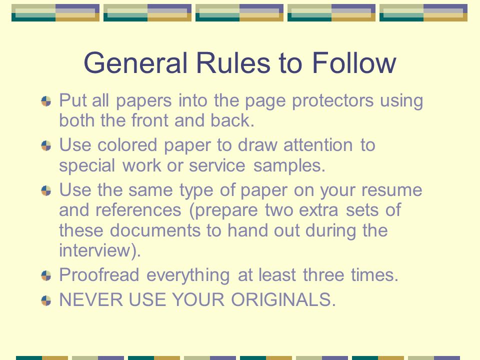 resume references rules