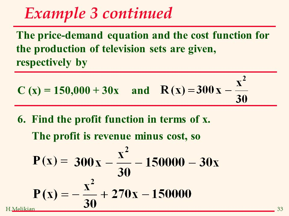 Cost and revenue function College paper Academic Service