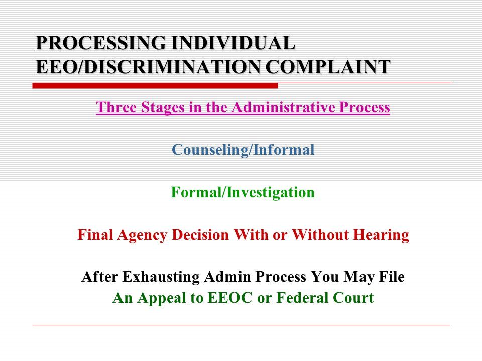 PREVENTION OF SEXUAL HARRASSMENT AND NO FEAR ACT 2002 TRAINING - eeoc complaint form