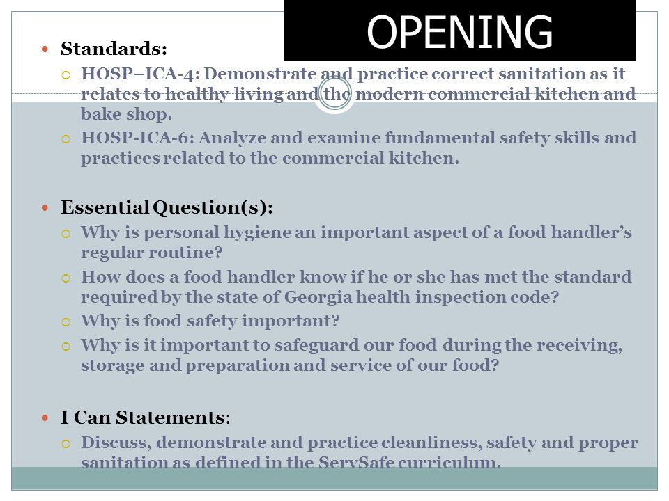 Introduction to Culinary Arts Kitchen Safety  Sanitation - ppt download - food handlers test answers