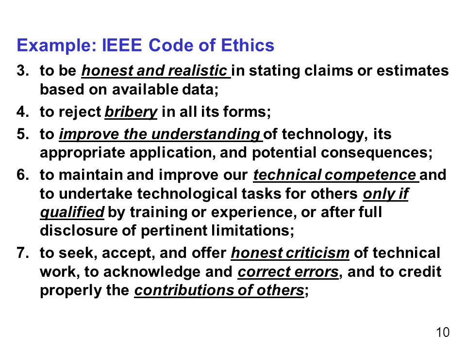 Engineering Ethics ECE/CS 252, Fall 2010 Prof Mikko Lipasti - ppt - code of conduct example
