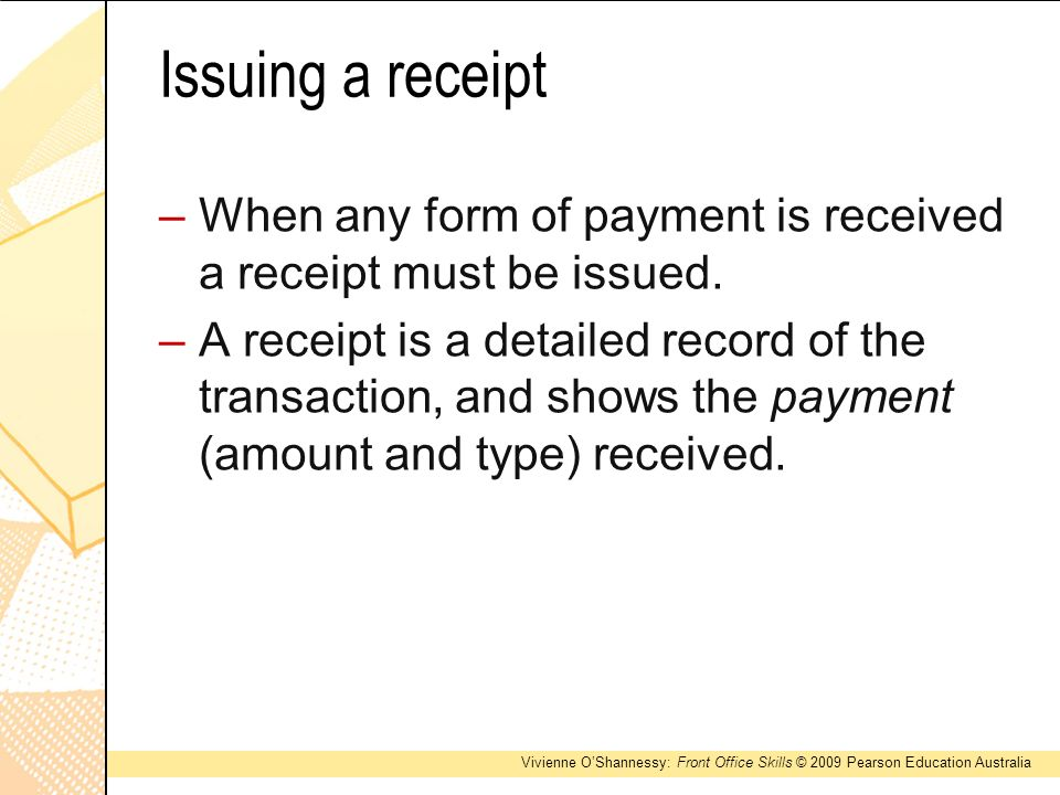 a receipt of payment – Form for Receipt of Payment
