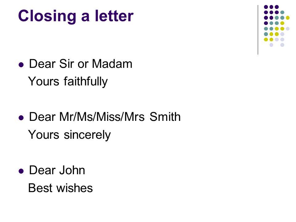 dear madam sir cover letter