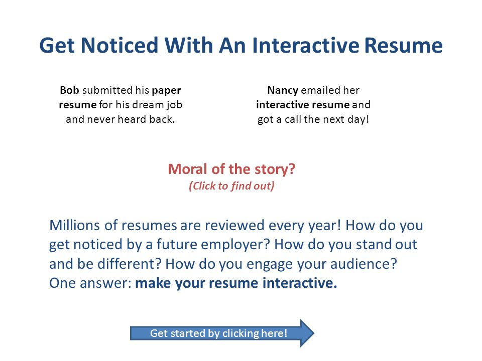 Get Noticed With An Interactive Resume - ppt video online download - resumes that get noticed