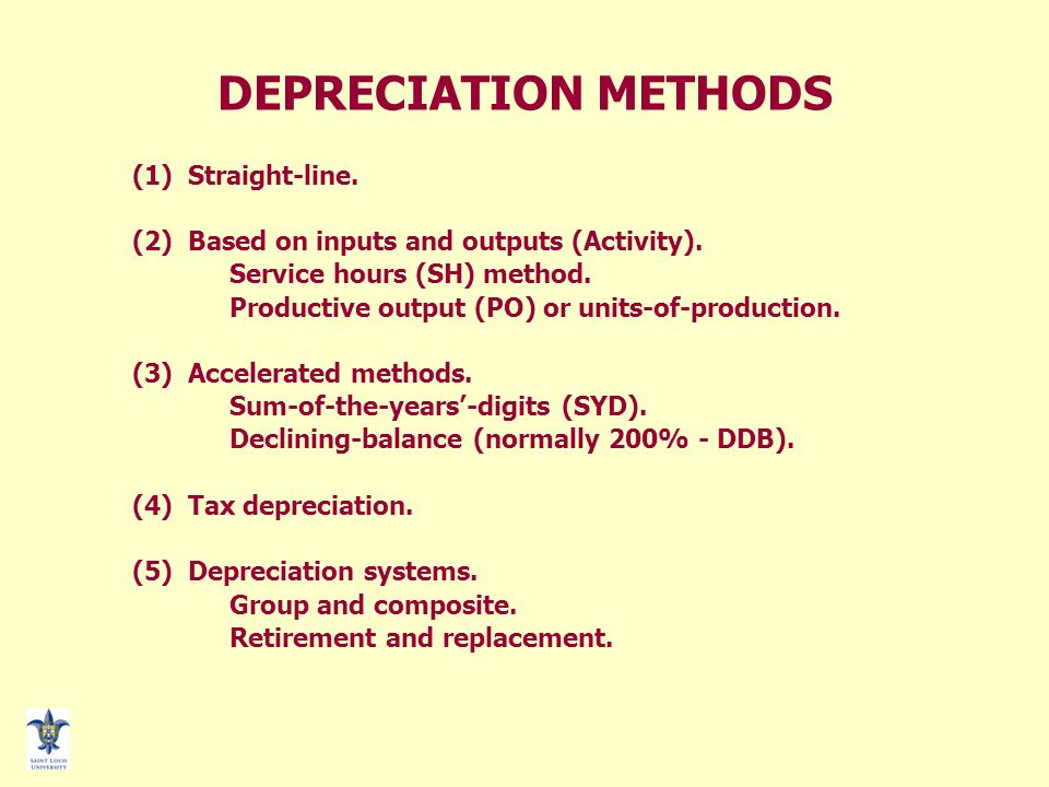 image of page 1 summary table of depreciation by method reasons to - three methods of depreciation