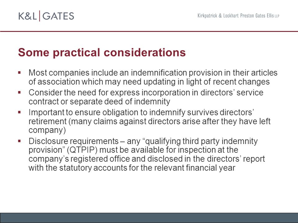 Directorsu0027 Liabilities, Indemnities and D\O Insurance - ppt download - deed of indemnity