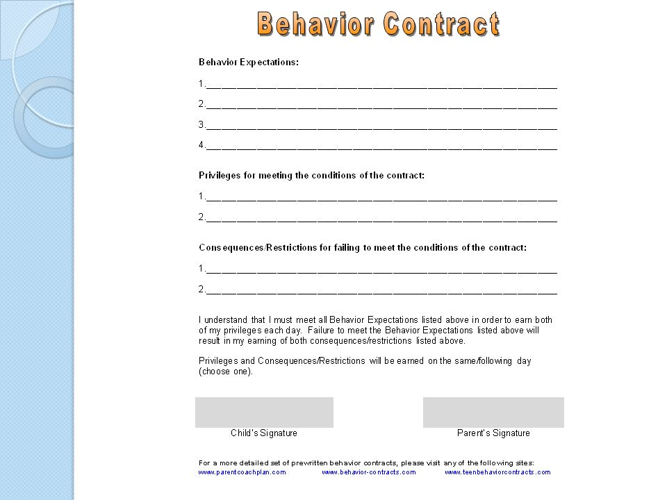 Behavior Contract BehaviorContractBDEbBbefAddaDClassroomBehavior