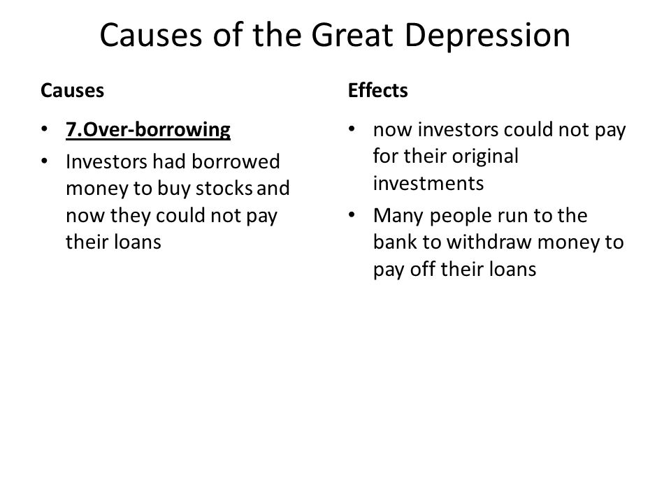 Causes of the Great Depression - ppt download - the great depression causes and effects