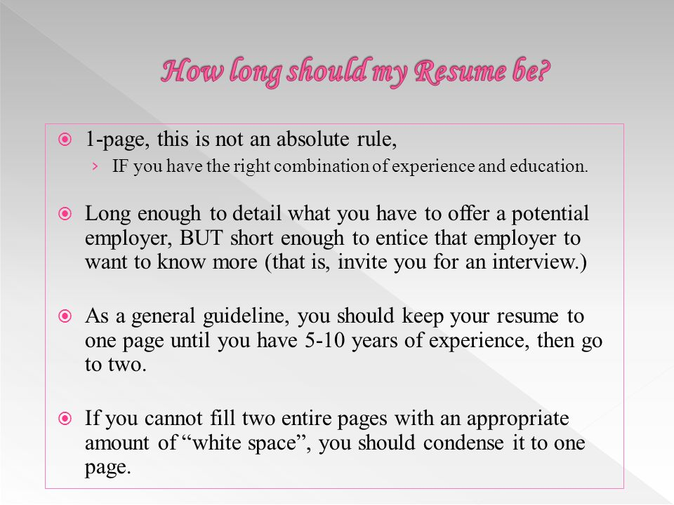 should a resume be one page cover letter