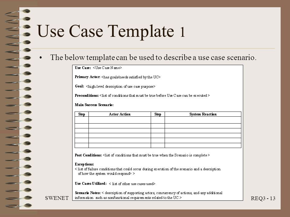 Use Case Analysis SWENET REQ3 Module July ppt video online download - use case template