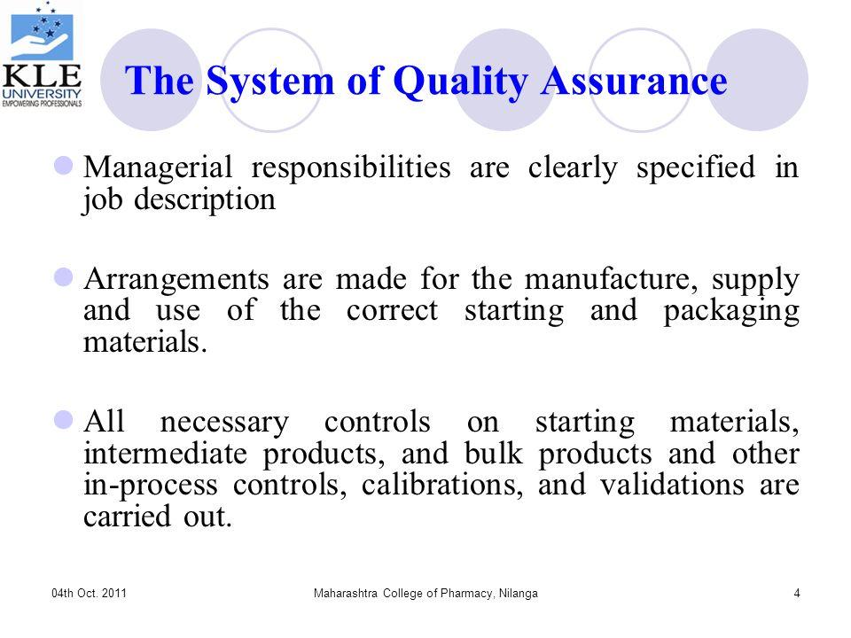 Quality Assurance and Regulatory Compliance for Pharmaceutical - quality control job description