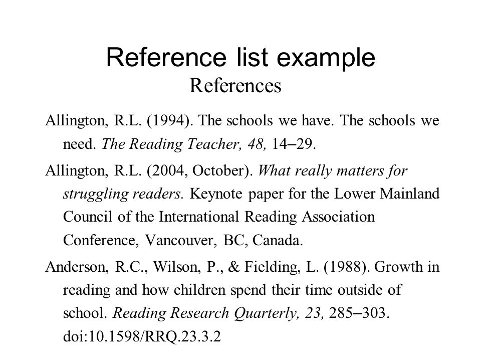 How To Write A List Of References For Research Paper