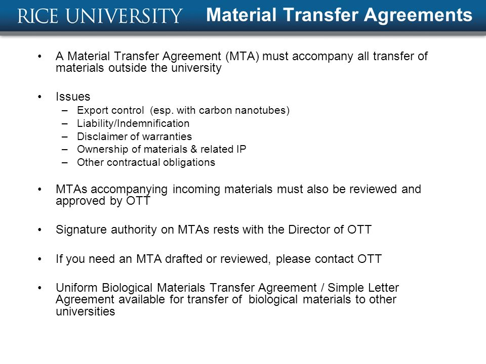 Technology Transfer at Rice - ppt download - transfer agreements