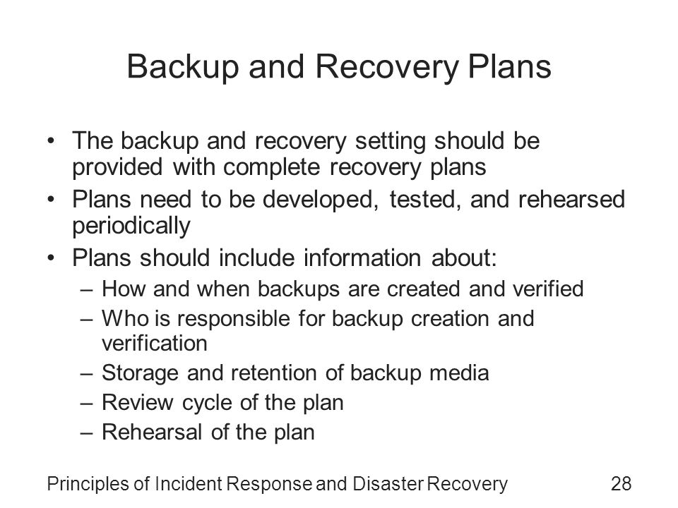 Principles of Incident Response and Disaster Recovery - ppt download - recovery plans