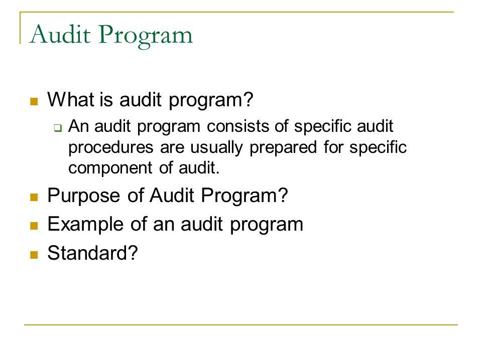 Sample Audit Program oakandale - sample audit program