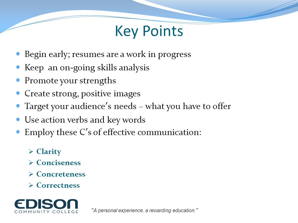 resume key points