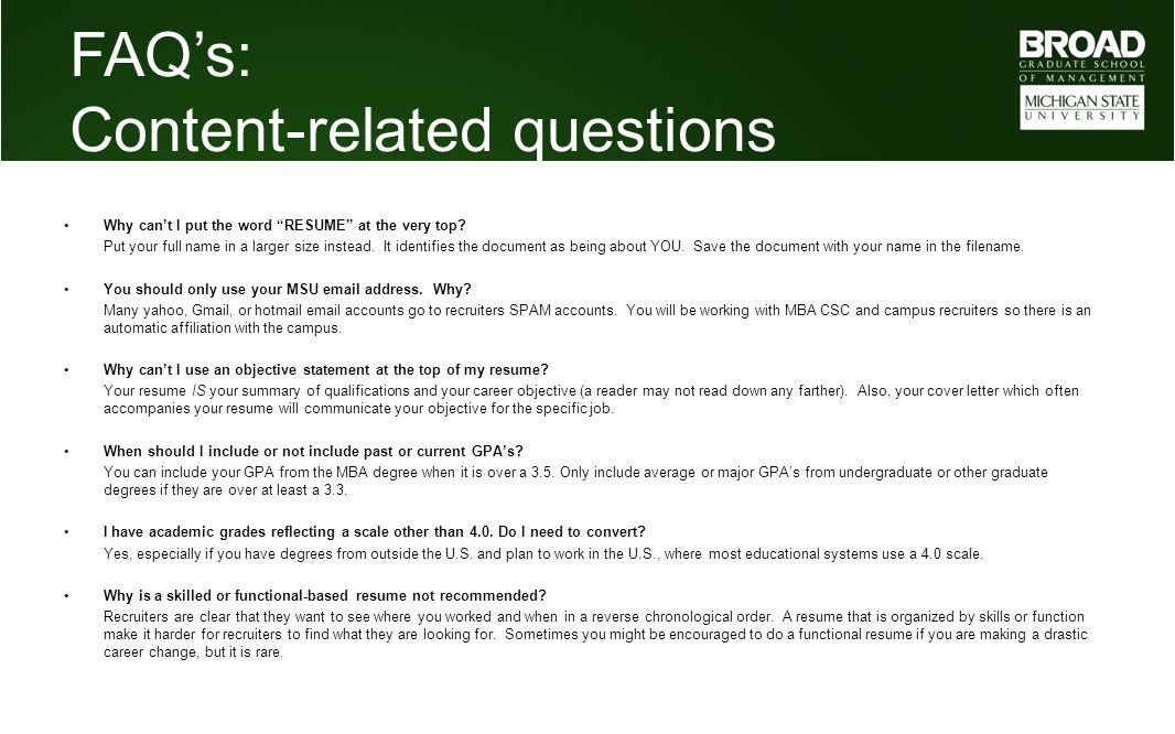 MBA Career Services Center Resume Tutorial - ppt video online download - should you have an objective on your resume