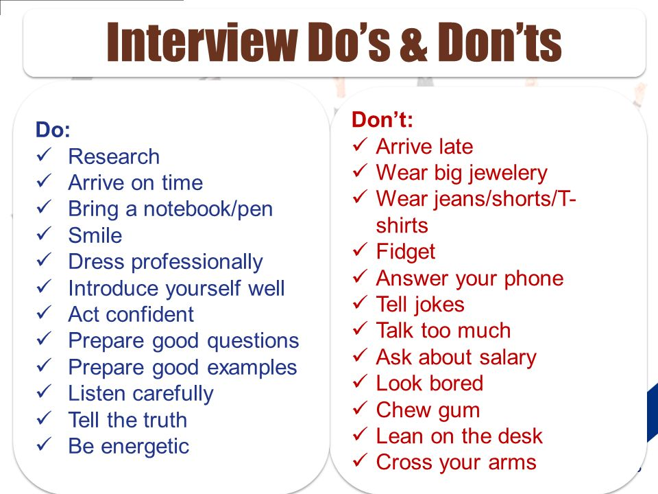 interview dos and donts - Goalgoodwinmetals