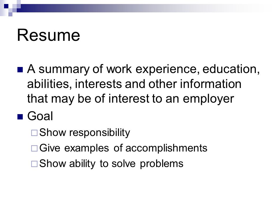 How to write a Resume - ppt video online download - work experience resume
