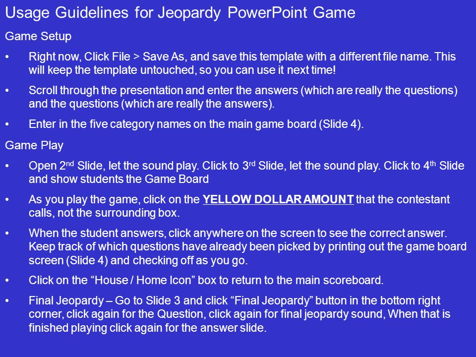 double jeopardy game template - Josemulinohouse - jeopardy game template
