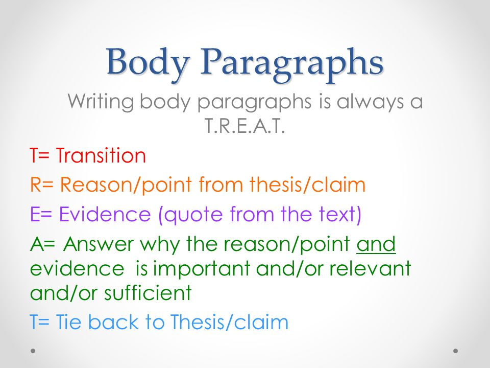 Body Paragraphs Writing body paragraphs is always a TREAT T - transition to start a paragraph