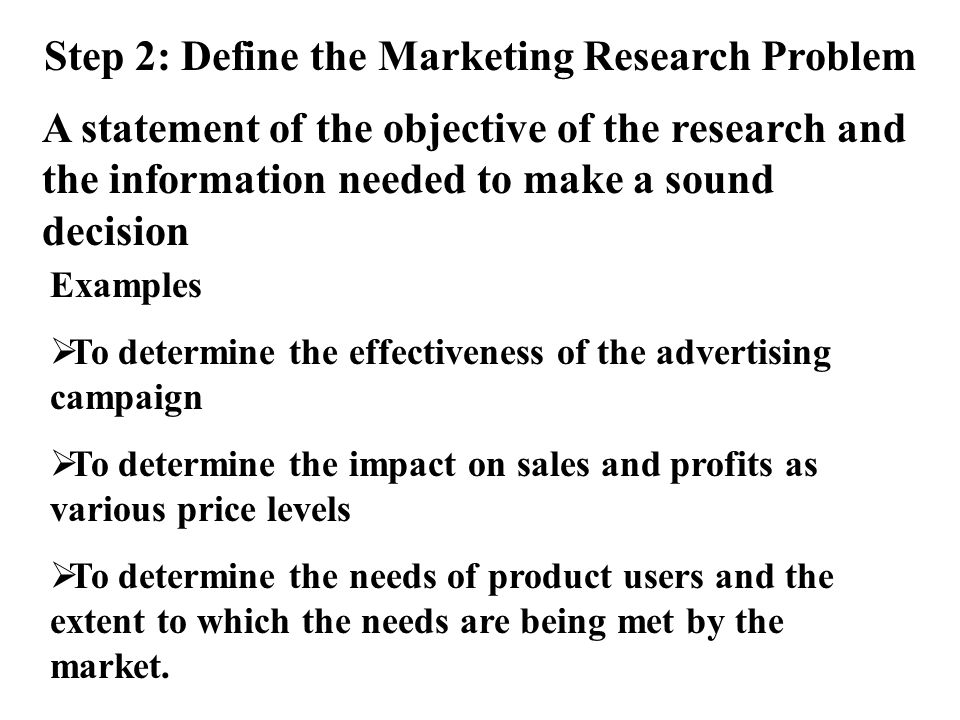 Marketing research problem statement purpose statement College - problem statement example