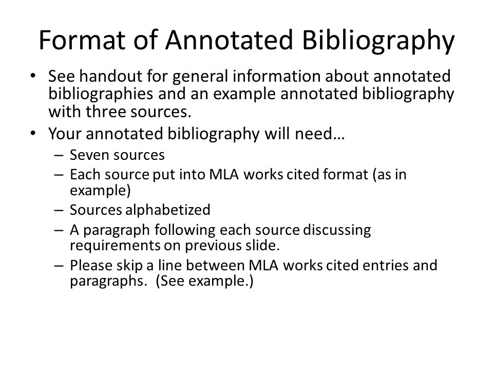 The Annotated Bibliography - ppt video online download