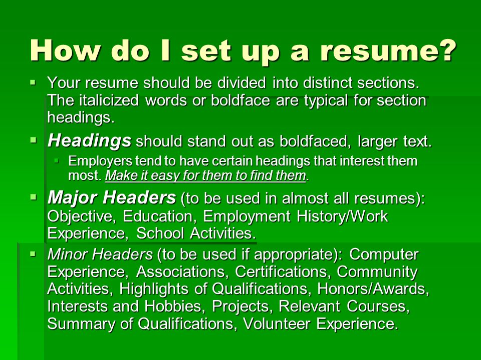 High School Student Resumeu0027 - ppt download - set up a resume