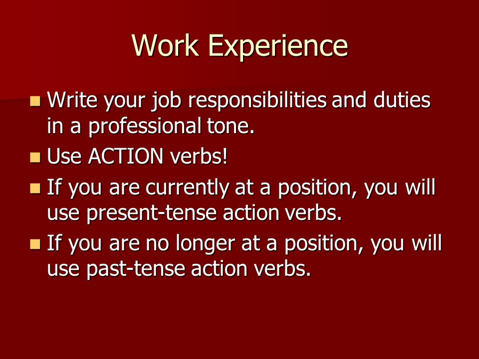 resume action verbs present tense