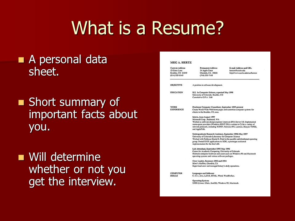 RESUMES Why are they important? - ppt video online download - what are resumes