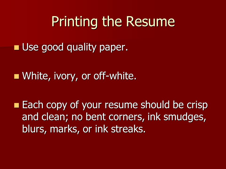 RESUMES Why are they important? - ppt download - ivory resume paper