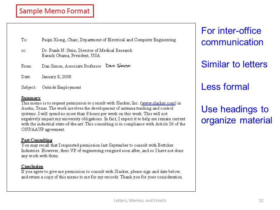 Lecture 11 Letters, Memos, and s Dan Simon - ppt download - inter office communication letter