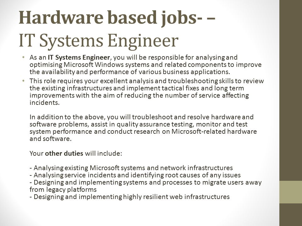 System Engineer Duties Resume CV Cover Letter - quality engineer job description