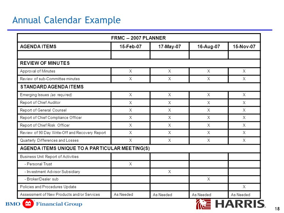 Agenda Purpose and design of board and management committees - ppt - sample annual calendar