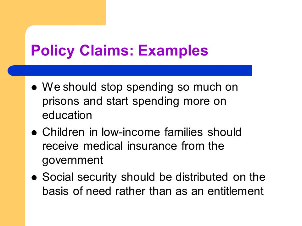 claim of policy examples - Muckgreenidesign