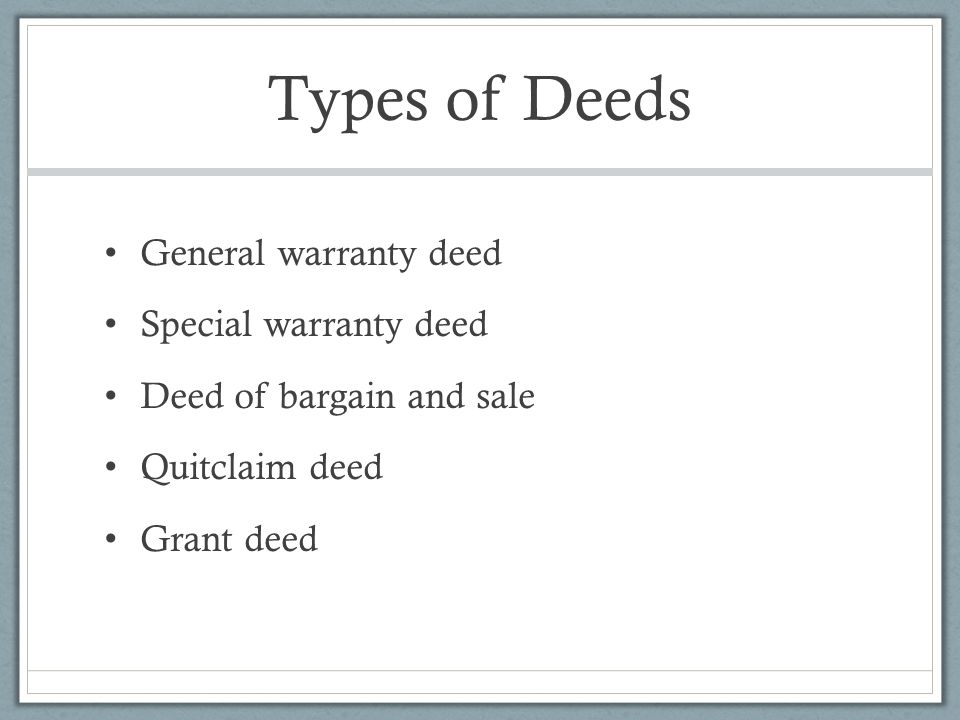 Chapter 5 Deed and Title Examination - ppt video online download - grant deed form
