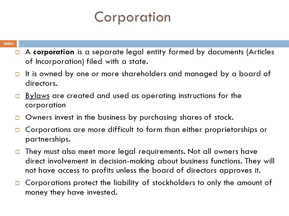5-2 Forms of Business Ownership - ppt video online download - microsoft articles of incorporation