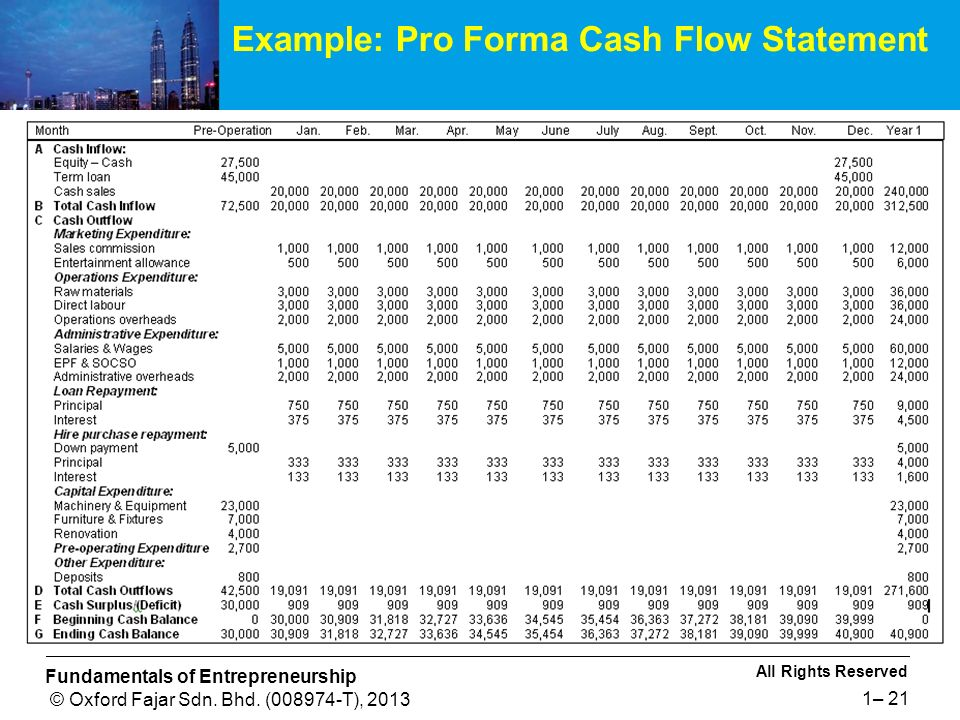 FINANCIAL MANAGEMENT FOR SMALL AND MEDIUM ENTERPRISES - ppt video - pro forma cash flow example