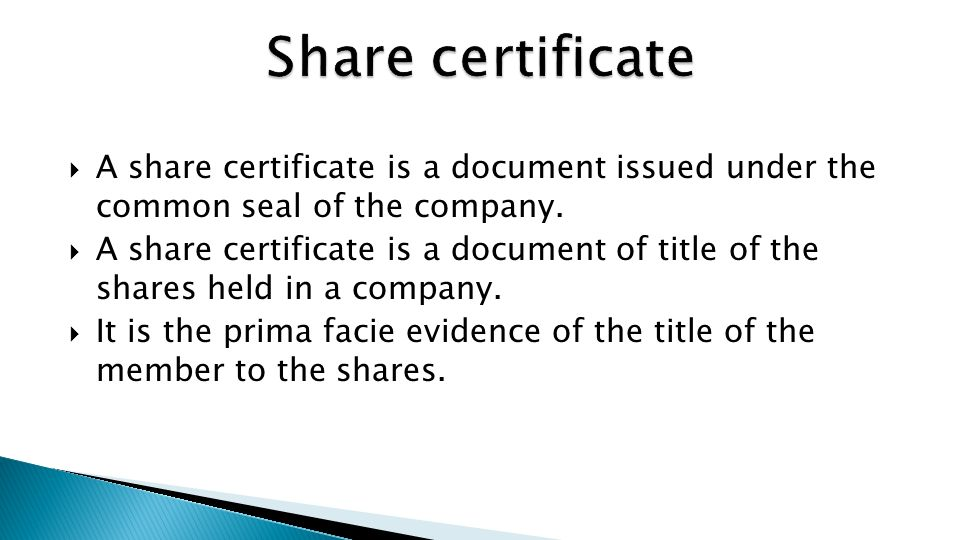 Recap Allotment of Shares Application for allotment of shares - ppt - Company Share Certificates
