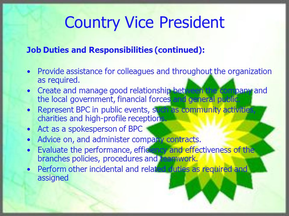 Vice President Job Description Vice President Job Description - vice president job description